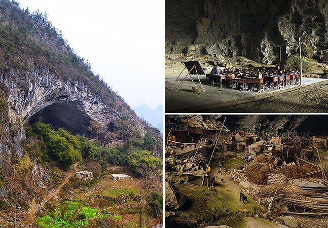 Esta incrível caverna na China tem 100 pessoas lá morando, quadra de basquete e até uma escola