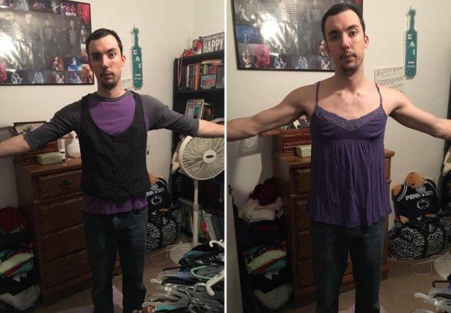 Ele experimentou as roupas de sua namorada para provar como os padrões são cruéis para as mulheres