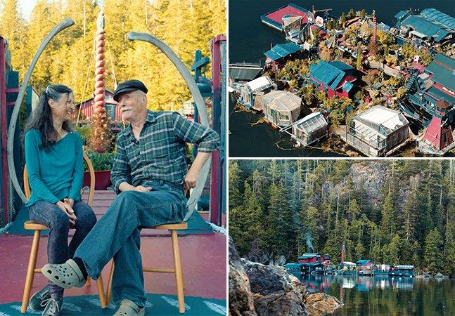 Casal passa 24 anos construindo incrível ilha flutuante para viver isolado do mundo