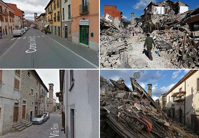 Série de fotos devastadora mostra vilarejos italianos antes e depois do terremoto