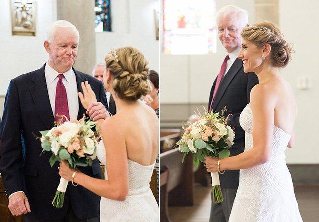 Noiva é levada ao altar por homem que recebeu transplante de coração do pai dela
