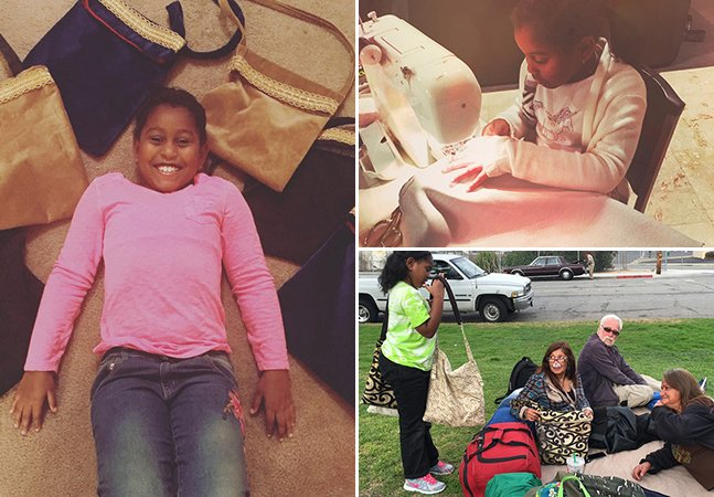 Menina de 9 anos costura bolsas e as enche com itens de higiene pra entregar a mulheres desabrigadas