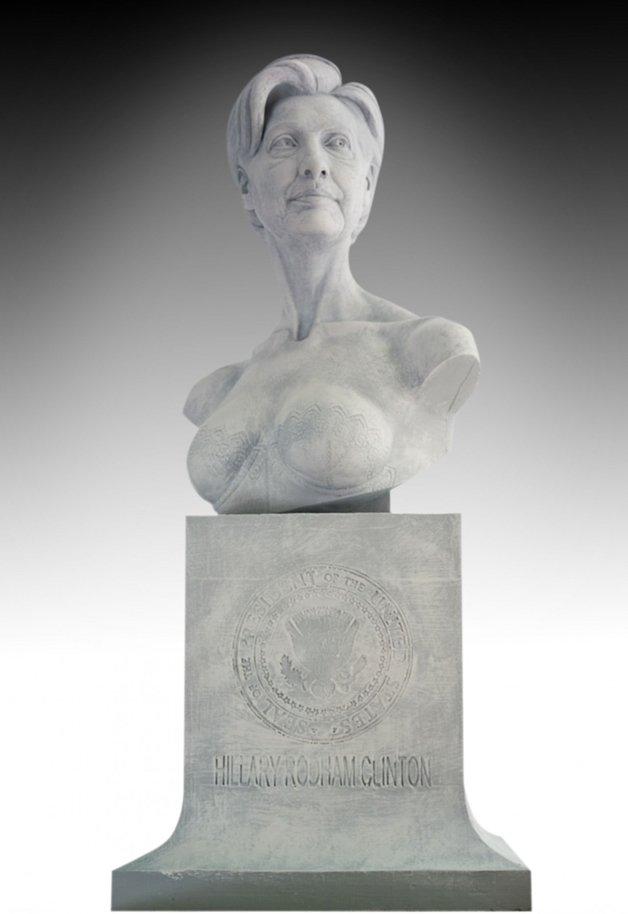 Um busto erotizado de Hillary Clinton
