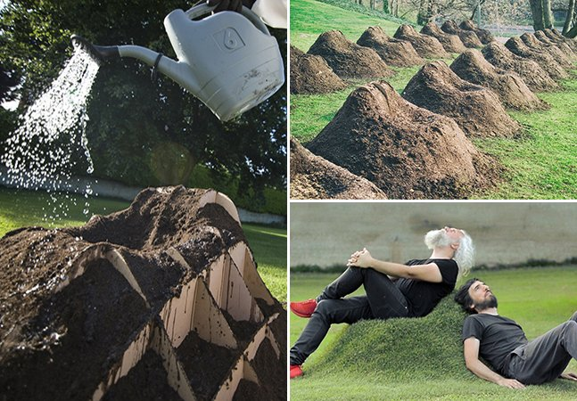 Designers criam poltrona de terra e grama que pode ser plantada em qualquer jardim