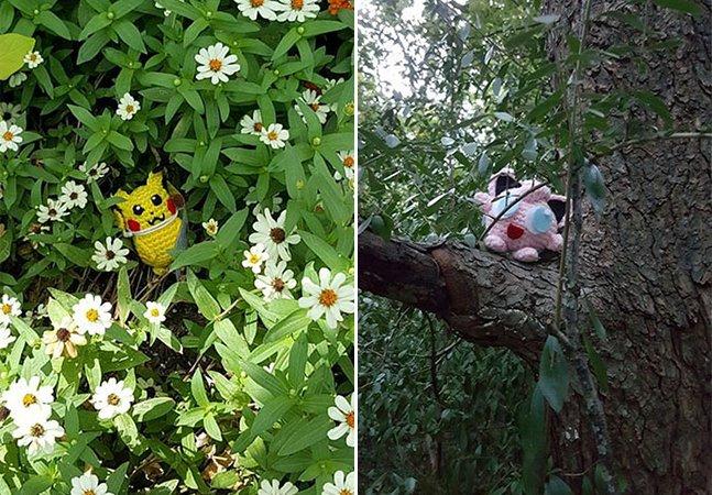 Mulher esconde Pokémon reais feitos de crochê e desafia pessoas a descobri-los