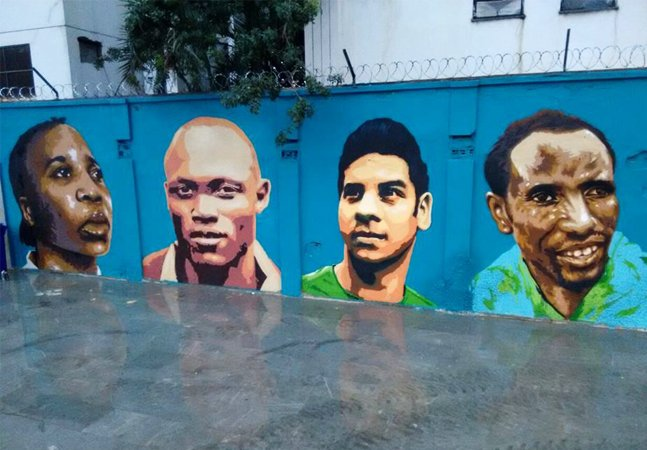Atletas refugiados recebem homenagem em forma de grafite no Porto Maravilha