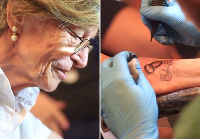 Paulista de 76 anos faz tatuagem para eternizar o amor pelo marido falecido pouco tempo antes