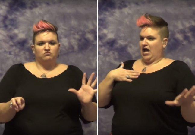 Ela está fazendo sucesso com suas vibrantes traduções de vídeos, memes e músicas pop pra linguagem de sinais