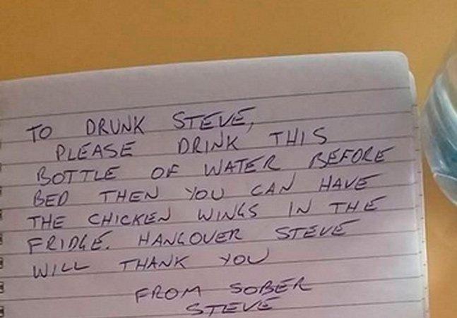 Bêbado discute com si próprio em bilhete hilário