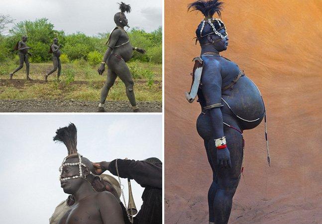 Nesta tribo da Etiópia os homens barrigudos são referenciados como heróis