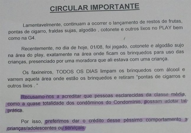 """Condomínio em Ipanema culpa """"serviçais"""" por lixo no prédio porque 'pessoas da classe média não fazem isso'"""