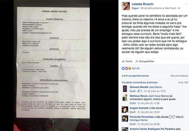 Garoto distribui currículos de seu pai em semáforo em SP, história viraliza e homem consegue emprego