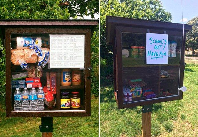 Despensas comunitárias  permitem que pessoas deixem  alimentos para quem precisa