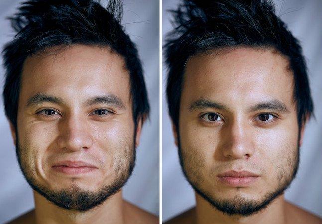 Closes mostram como a expressão das pessoas muda quando elas ficam nuas