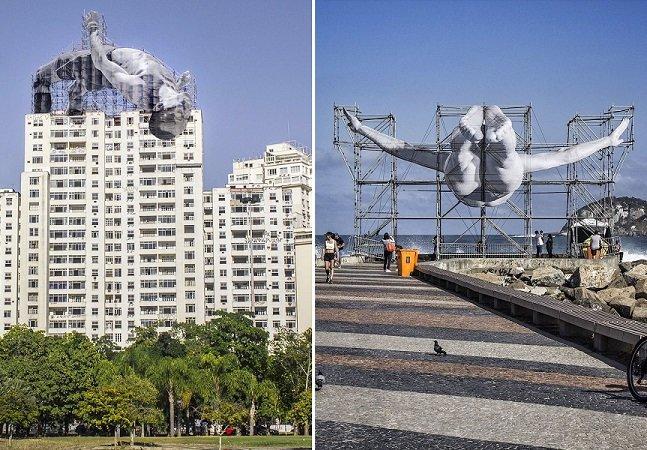 Artista francês ergue intervenções urbanas gigantes no Rioem homenagem a atletas olímpicos
