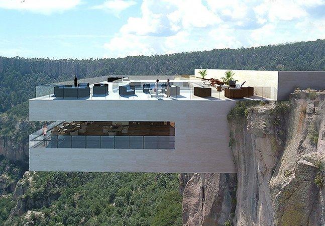 Você toparia? Arquitetos projetam restaurante à beira de penhasco a quase 300m de altura