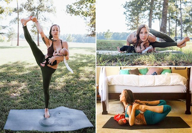 Mãe faz sucesso com incríveis poses de yoga enquanto amamenta sua filha