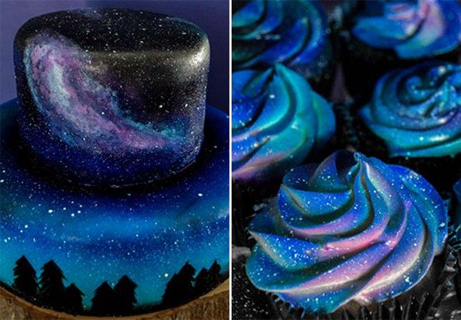 Viaje nestes doces e cupcakes que trazem o cosmos dentro de si