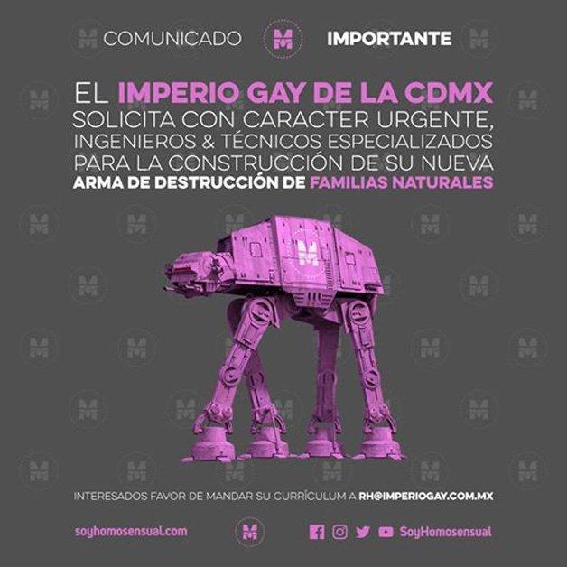 O Império Gay da CDMX solicita urgentemente engenheiros e técnicos especializados para a construção de sua nova arma de destruição de famílias naturais.
