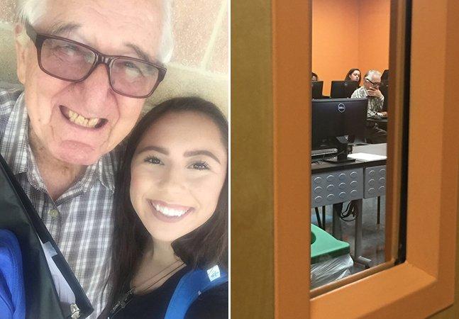 Aos 82 anos, este vovô está estudando economia na mesma universidade que a neta de 18