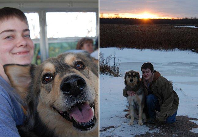Comunidade se une para levar este cachorro para ver neve pela última vez em momento tocante