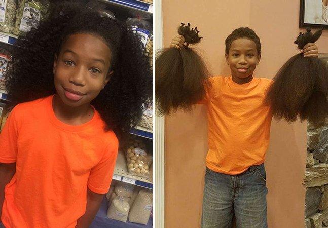 Garoto de 8 anos comove ao deixar seu cabelo crescer durante 2 anos pra fazer perucas pra crianças com câncer