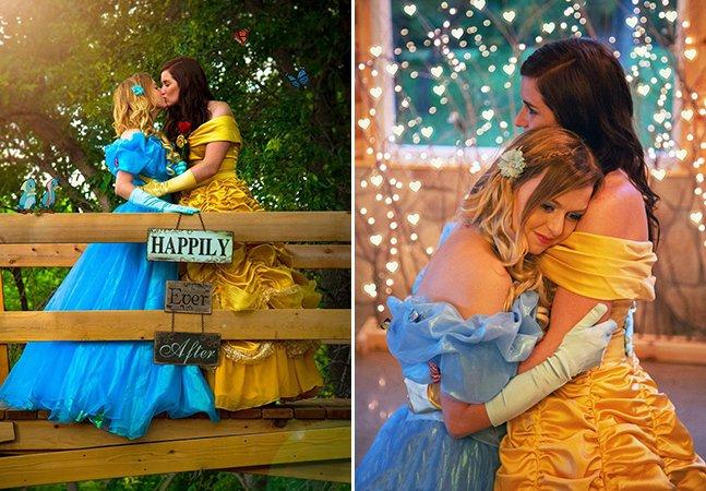 Elas se vestiram de Bela e Cinderela para criar seu maravilhoso álbum de noivado inspirado na Disney