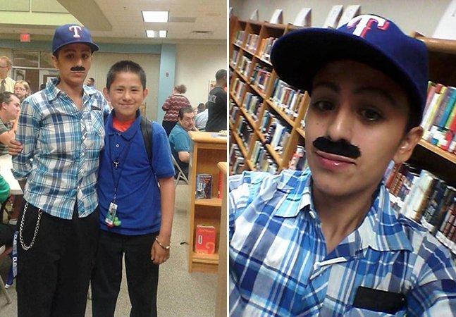 Esta mãe solo se vestiu de homem para ir com o filho a um evento de pais na escola