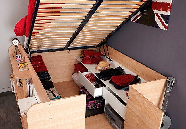 Cama com armário embutido soluciona problemas de espaço para pequenos ambientes