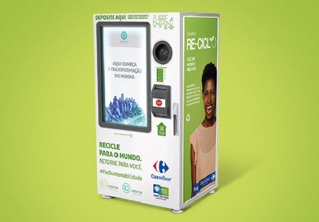 Rede de supermercados instala máquinas que trocam recicláveis por descontos