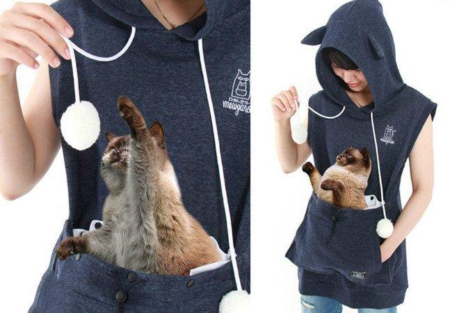Este casaco leva o conceito de 'canguru' ao pé da letra