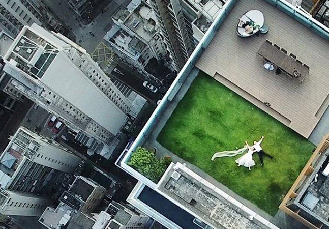 Depois de fazer esta foto incrível e acidental com um drone, ele começou uma saga para localizar o casal