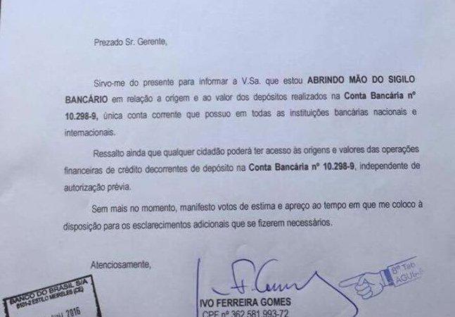 Candidato à prefeitura de cidade no Ceará abre mão de sigilo bancário e é aplaudido por internautas