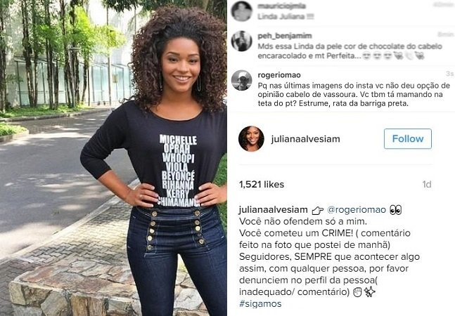 Chamada de 'rata da barriga preta' atriz Juliana Alves toma atitude contra o racismo