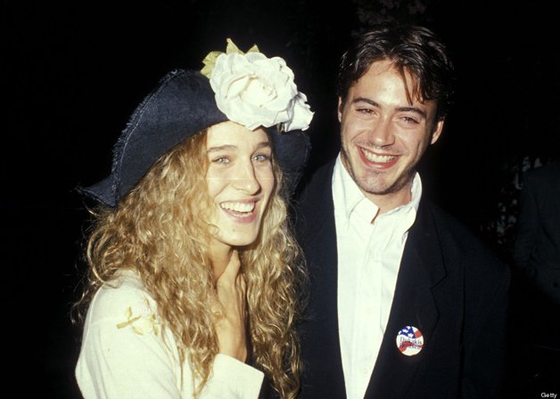 BEVERLY HILLS, CA - SEPTEMBER 15: Actress Sarah Jessica Parker and actor Robert Downey, Jr. attend the 1988 Presidential Campaign: Democratic Candidate Michael Dukakis' Benefit Cocktail Party on September 15, 1988 at Norman Lear's Home in Beverly Hills, California. (Photo by Ron Galella, Ltd./WireImage)
