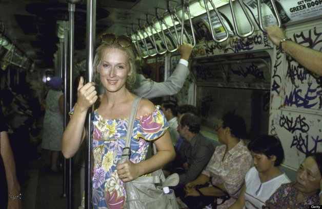 UNITED STATES - AUGUST 01: Actress Meryl Streep riding in a NYC subway train. (Photo by Ted Thai/Time & Life Pictures/Getty Images)