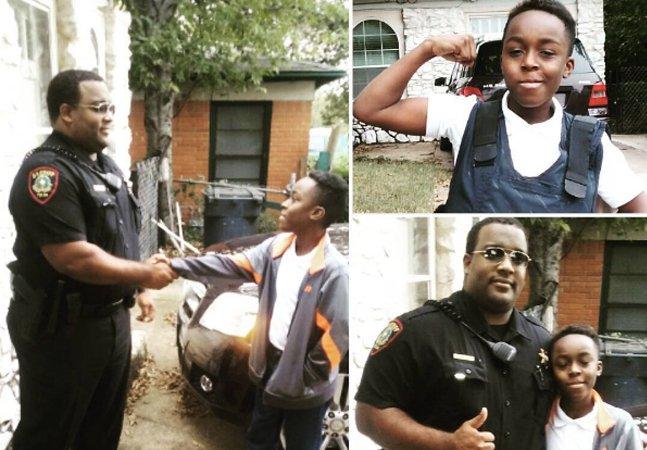 Garoto afro-americano que tinha medo de policiais cria movimento pra fazer amizade com um por dia