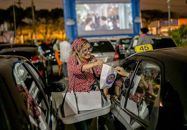 Filmes, buzinas e pipocas são as atrações do incrível projeto que tem levado cinema no estilo drive-in pelo Brasil
