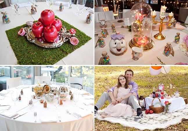 O incrível casamento inspirado na Disney em que cada mesa representa um clássico diferente