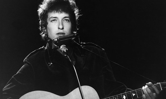 Bob Dylan performing on TV show, BBC TV Centre