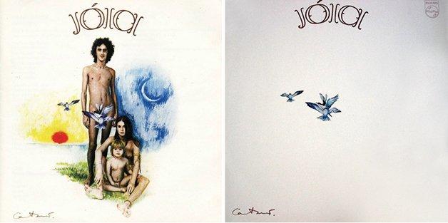 O disco Jóia, de Caetano Veloso. À esquerda, a capa original; à direita, a censurada