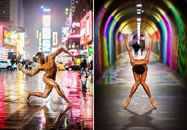 Bailarinos tiram a roupa em ensaio maravilhoso no centro de Nova York