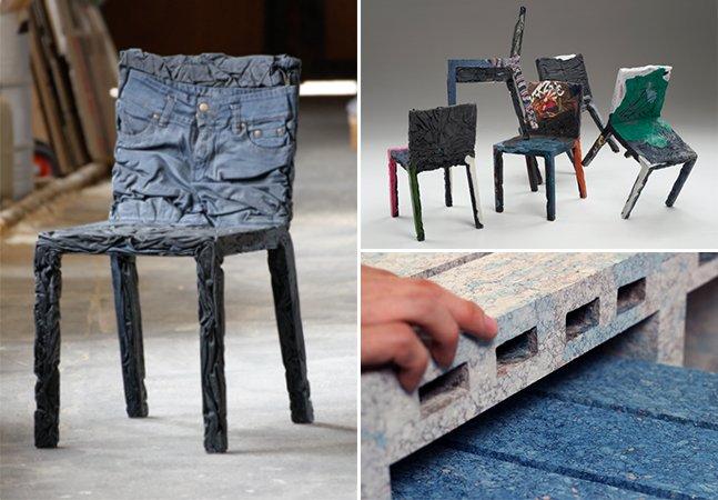 Designers criam móveis sustentáveis usando papel e roupas velhas