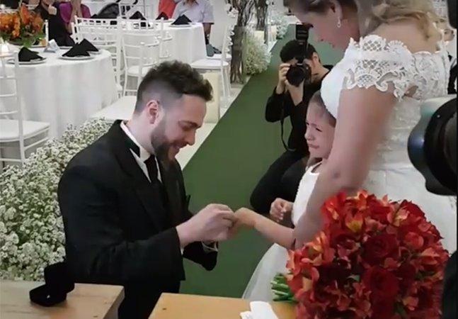 Noivo em São Bernardo do Campo pede pra que enteada seja 'sua filha para sempre' e emociona a internet