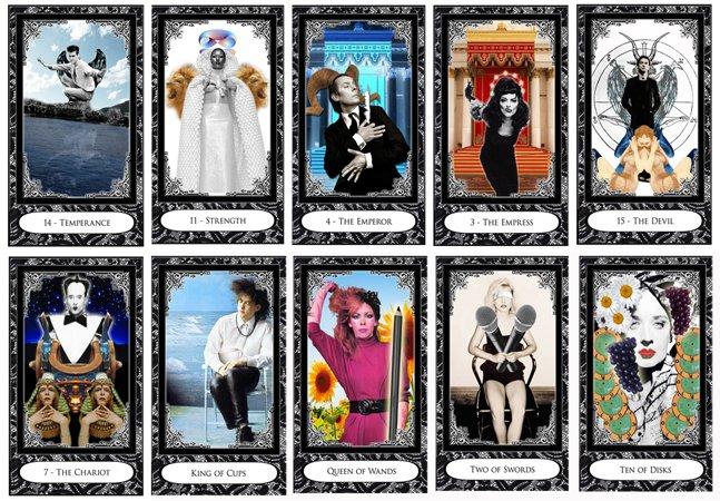 Este tarô é ilustrado com ícones do new wave, punk e pós punk