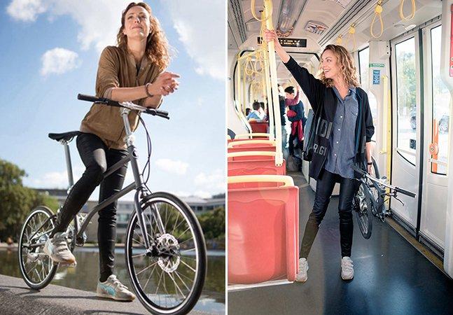 A primeira bicicleta elétrica dobrável do mundo que se carrega automaticamente enquanto você pedala