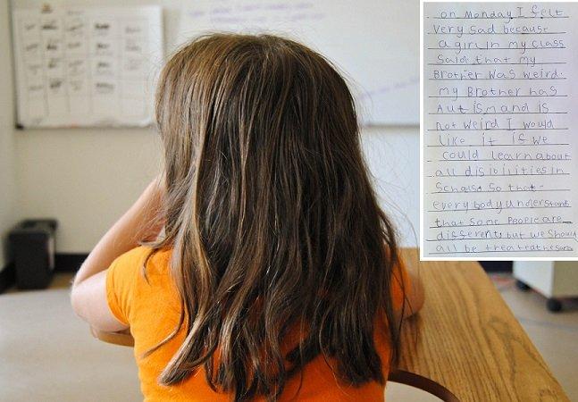 """Menina de 6 anos escreve carta  perfeita para as pessoas que chamam """"estranho"""" a seu irmão autista"""
