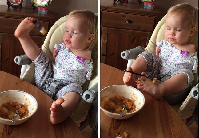 Esta menina nasceu sem braços, mas isso não a impediu de aprender a comer sozinha… com os pés
