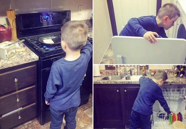 """Mãe mostra como ensina o filho que """"cuidar do lar não é só para mulheres"""" e viraliza na web"""
