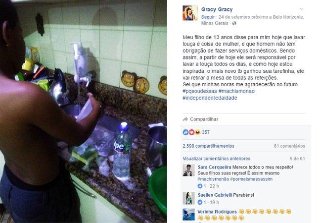 Depois de ouvir do filho que 'lavar louça é coisa de mulher' essa mãe teve uma reação inusitada